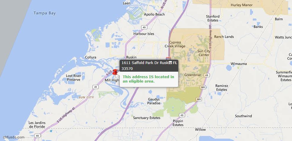 USDA Loan Eligiblity Map - 1611 Saffold Park Dr, Ruskin, FL 33570