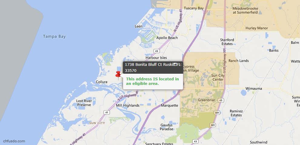 USDA Loan Eligiblity Map - 1738 Bonita Bluff Ct, Ruskin, FL 33570