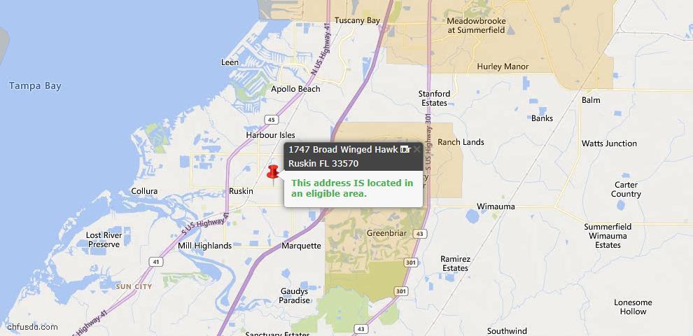 USDA Loan Eligiblity Map - 1747 Broad Winged Hawk Dr, Ruskin, FL 33570
