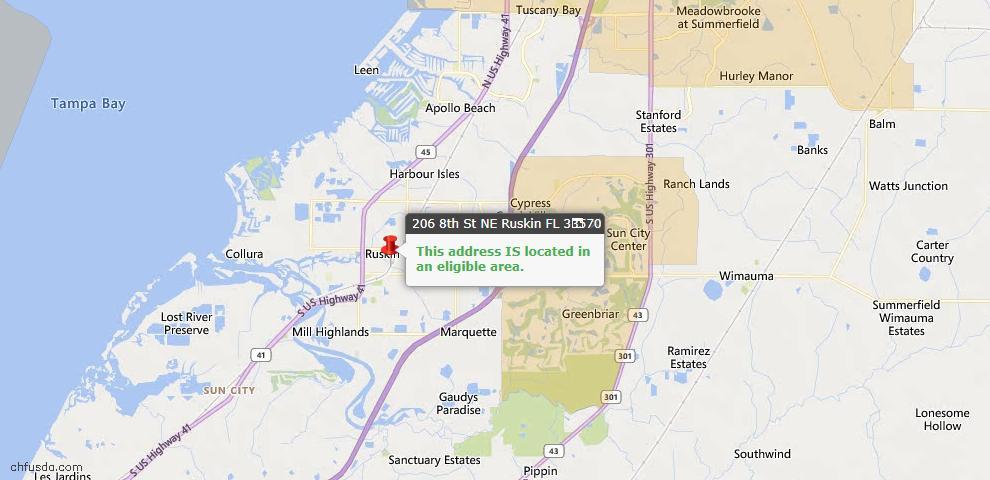USDA Loan Eligiblity Map - 206 8th St NE, Ruskin, FL 33570