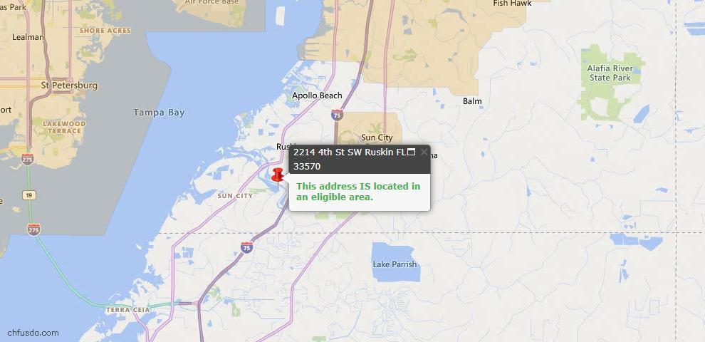 USDA Loan Eligiblity Map - 2214 4th St, Ruskin, FL 33570