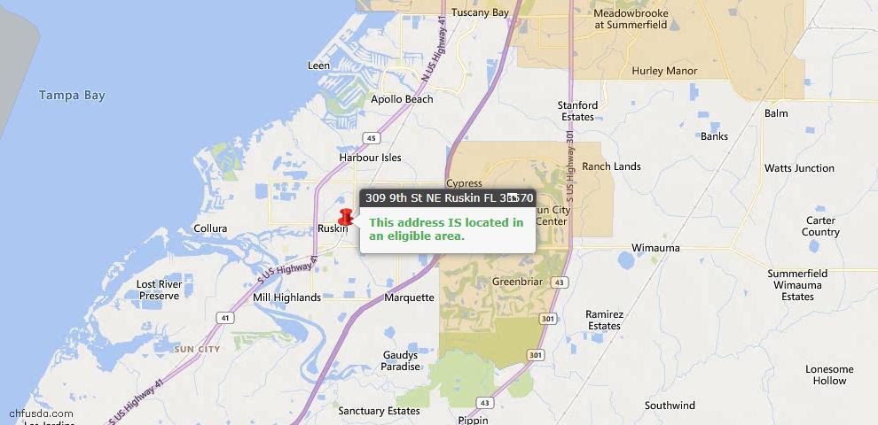 USDA Loan Eligiblity Map - 309 9th St NE, Ruskin, FL 33570