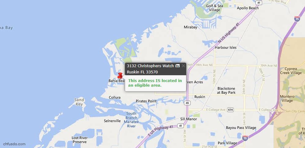 USDA Loan Eligiblity Map - 3132 Christophers Watch Ln, Ruskin, FL 33570