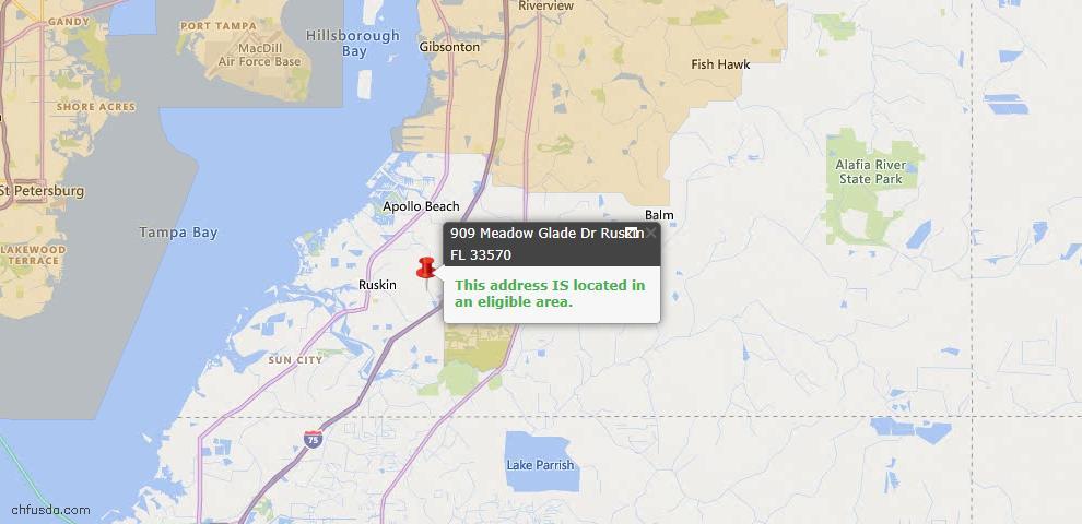 USDA Loan Eligiblity Map - 909 Meadow Glade Dr, Ruskin, FL 33570