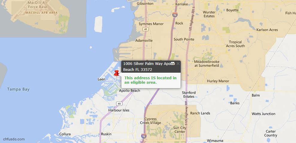 USDA Loan Eligiblity Map - 1006 Silver Palm Way, Apollo Beach, FL 33572