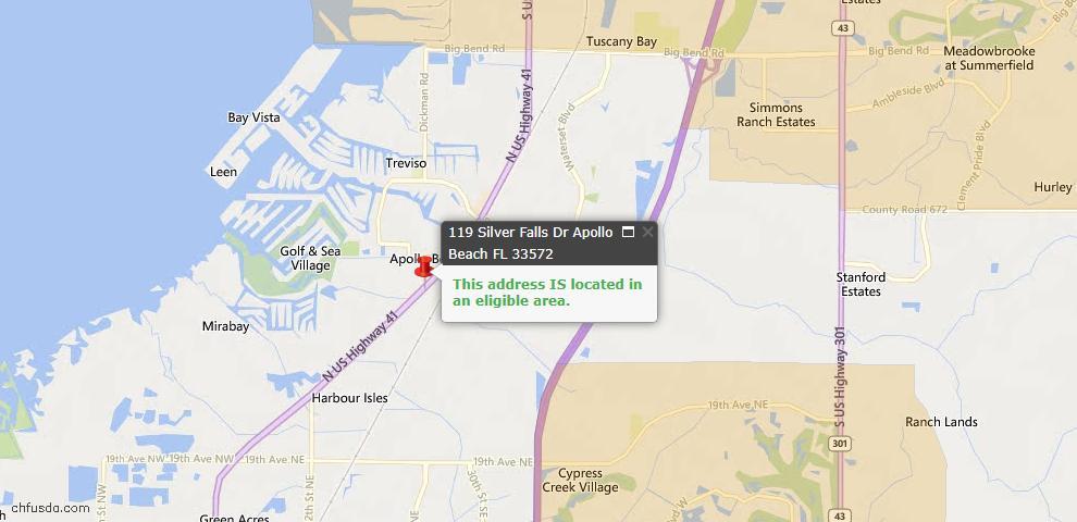 USDA Loan Eligiblity Map - 119 Silver Falls Dr, Apollo Beach, FL 33572