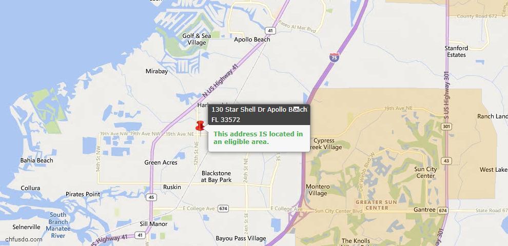 USDA Loan Eligiblity Map - 130 Star Shell Dr, Apollo Beach, FL 33572