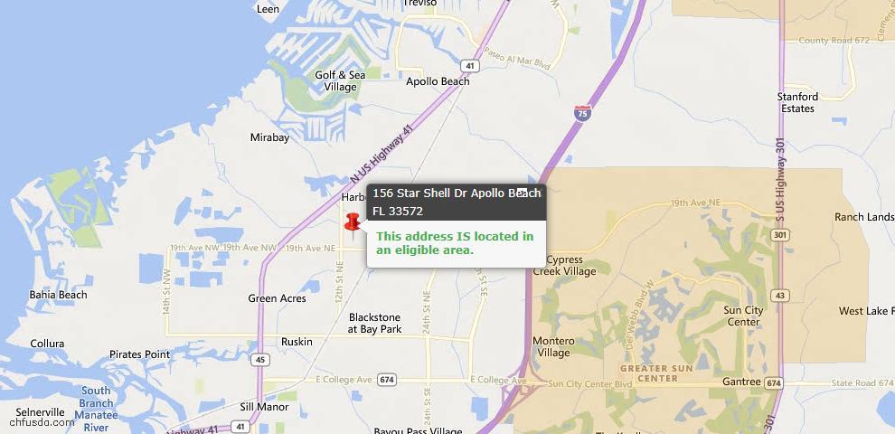USDA Loan Eligiblity Map - 156 Star Shell Dr, Apollo Beach, FL 33572