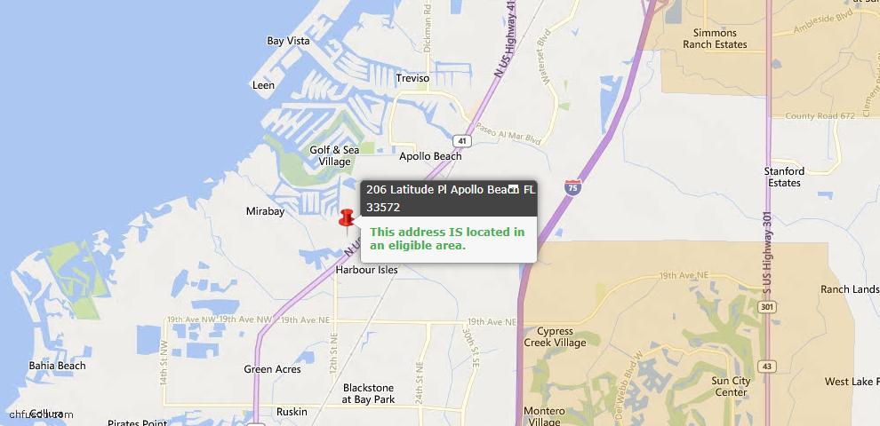USDA Loan Eligiblity Map - 206 Latitude Pl, Apollo Beach, FL 33572
