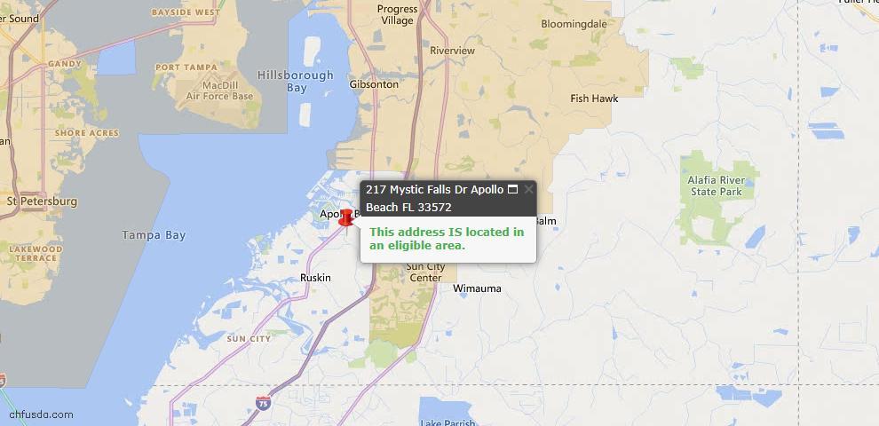 USDA Loan Eligiblity Map - 217 Mystic Falls Dr, Apollo Beach, FL 33572
