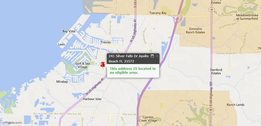 USDA Loan Eligiblity Map - 241 Silver Falls Dr, Apollo Beach, FL 33572