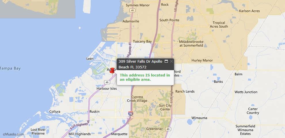 USDA Loan Eligiblity Map - 309 Silver Falls Dr, Apollo Beach, FL 33572
