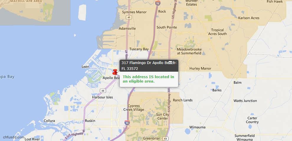 USDA Loan Eligiblity Map - 317 Flamingo Dr, Apollo Beach, FL 33572