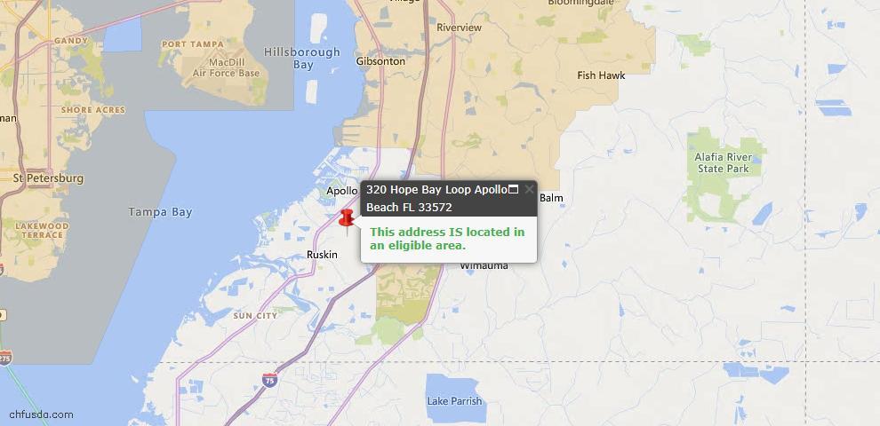 USDA Loan Eligiblity Map - 320 Hope Bay Loop, Apollo Beach, FL 33572