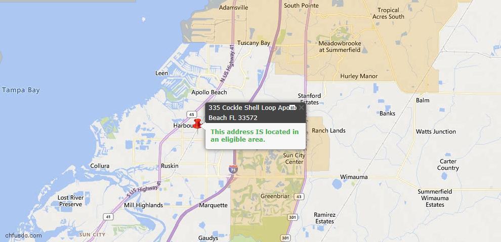 USDA Loan Eligiblity Map - 335 Cockle Shell Loop, Apollo Beach, FL 33572