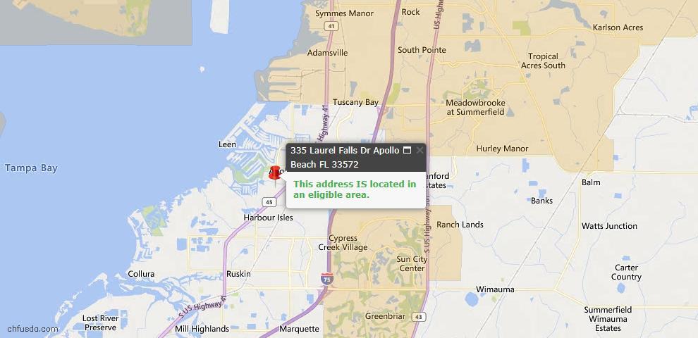 USDA Loan Eligiblity Map - 335 Laurel Falls Dr, Apollo Beach, FL 33572