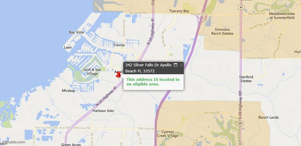 USDA Loan Eligiblity Map - 342 Silver Falls Dr, Apollo Beach, FL 33572