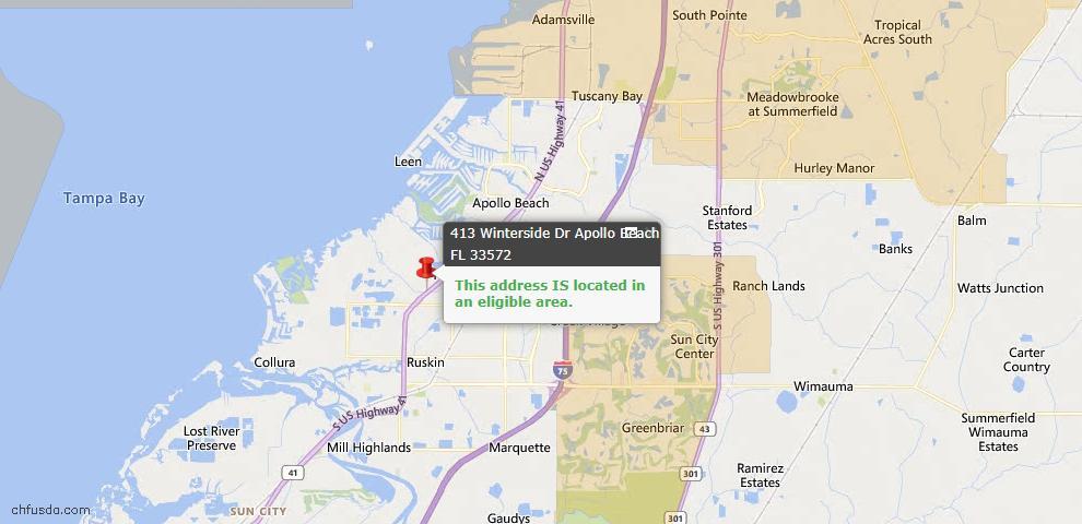 USDA Loan Eligiblity Map - 413 Winterside Dr, Apollo Beach, FL 33572