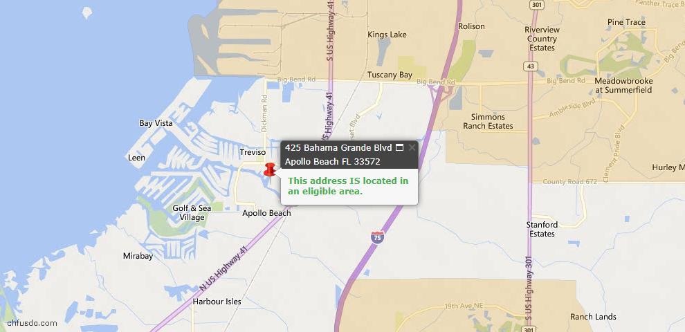 USDA Loan Eligiblity Map - 425 Bahama Grande Blvd, Apollo Beach, FL 33572