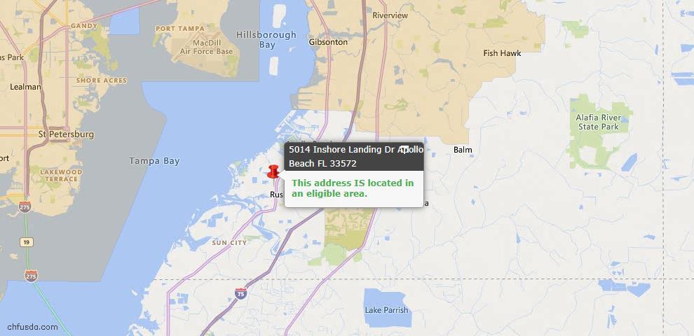 USDA Loan Eligiblity Map - 5014 Inshore Landing Dr, Apollo Beach, FL 33572
