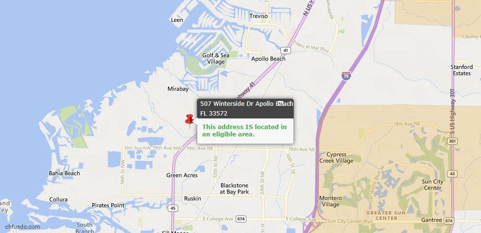 USDA Loan Eligiblity Map - 507 Winterside Dr, Apollo Beach, FL 33572