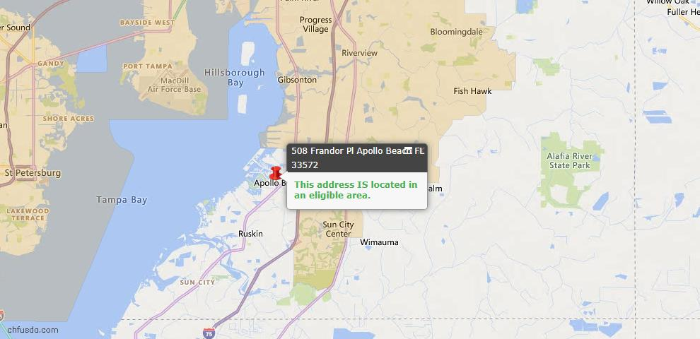 USDA Loan Eligiblity Map - 508 Frandor Pl, Apollo Beach, FL 33572