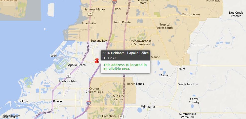 USDA Loan Eligiblity Map - 6216 Heirloom Pl, Apollo Beach, FL 33572