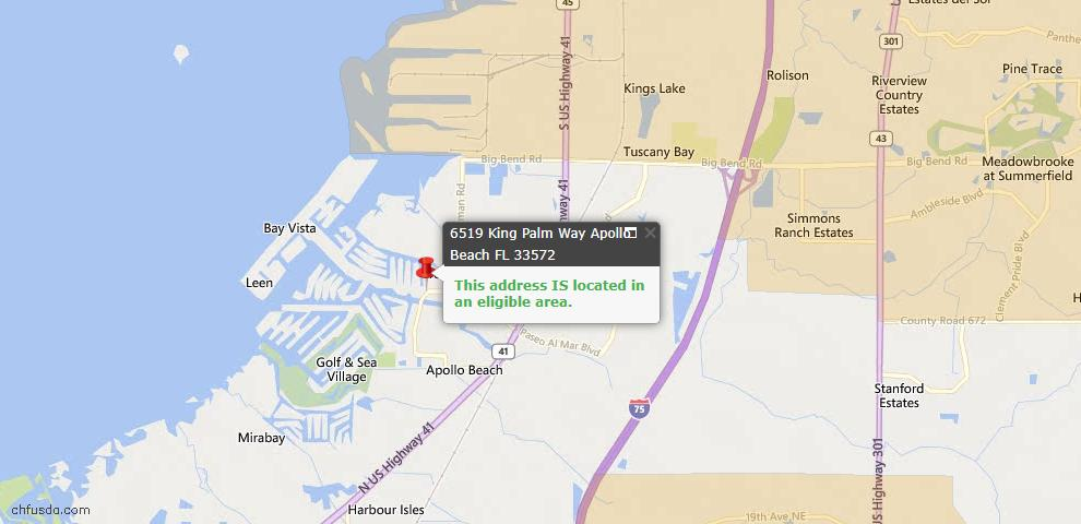 USDA Loan Eligiblity Map - 6519 King Palm Way, Apollo Beach, FL 33572