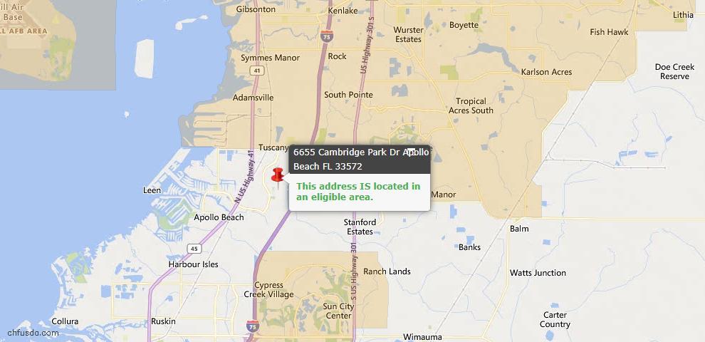 USDA Loan Eligiblity Map - 6655 Cambridge Park Dr, Apollo Beach, FL 33572