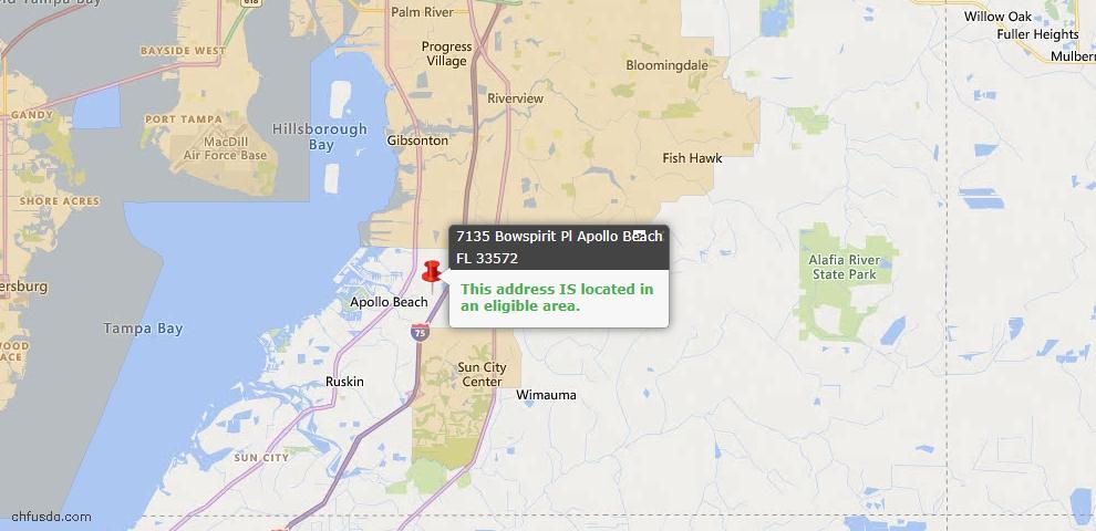USDA Loan Eligiblity Map - 7135 Bowspirit Pl, Apollo Beach, FL 33572