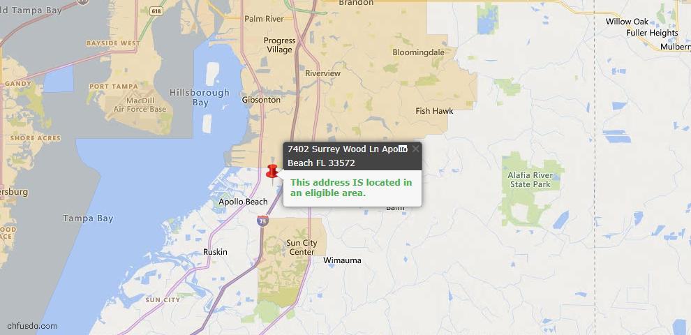 USDA Loan Eligiblity Map - 7402 Surrey Wood Ln, Apollo Beach, FL 33572