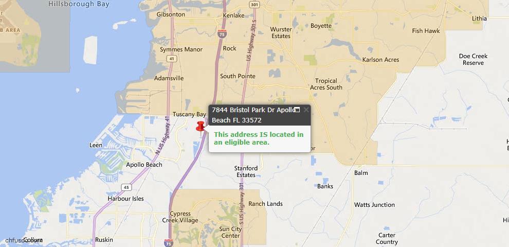 USDA Loan Eligiblity Map - 7844 Bristol Park Dr, Apollo Beach, FL 33572