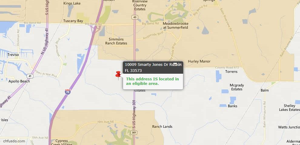 USDA Loan Eligiblity Map - 10009 Smarty Jones Dr, Ruskin, FL 33573