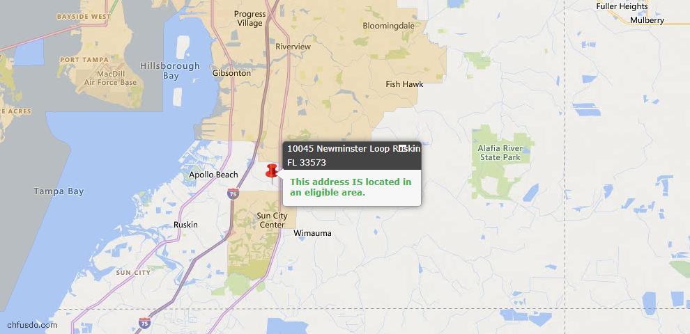 USDA Loan Eligiblity Map - 10045 Newminster Loop, Ruskin, FL 33573