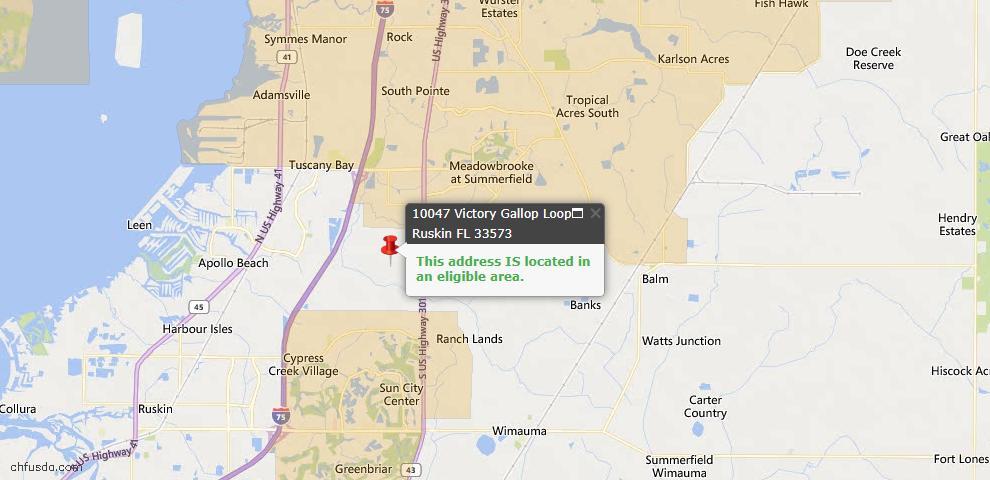 USDA Loan Eligiblity Map - 10047 Victory Gallop Loop, Ruskin, FL 33573