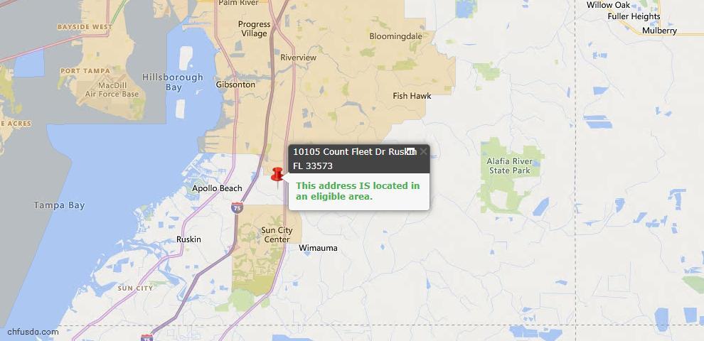 USDA Loan Eligiblity Map - 10105 Count Fleet Dr, Ruskin, FL 33573