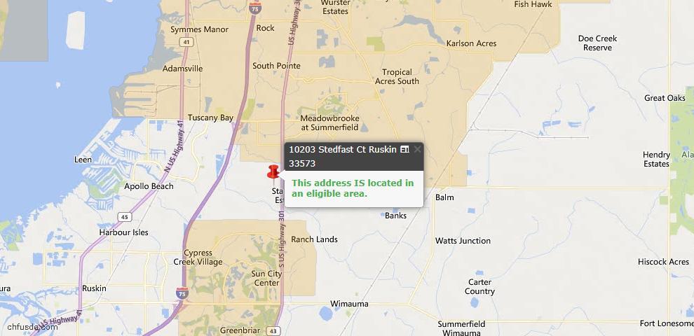 USDA Loan Eligiblity Map - 10203 Stedfast Ct, Ruskin, FL 33573