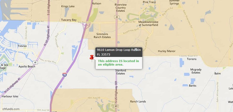 USDA Loan Eligiblity Map - 9610 Lemon Drop Loop, Ruskin, FL 33573
