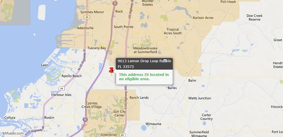 USDA Loan Eligiblity Map - 9613 Lemon Drop Loop, Ruskin, FL 33573