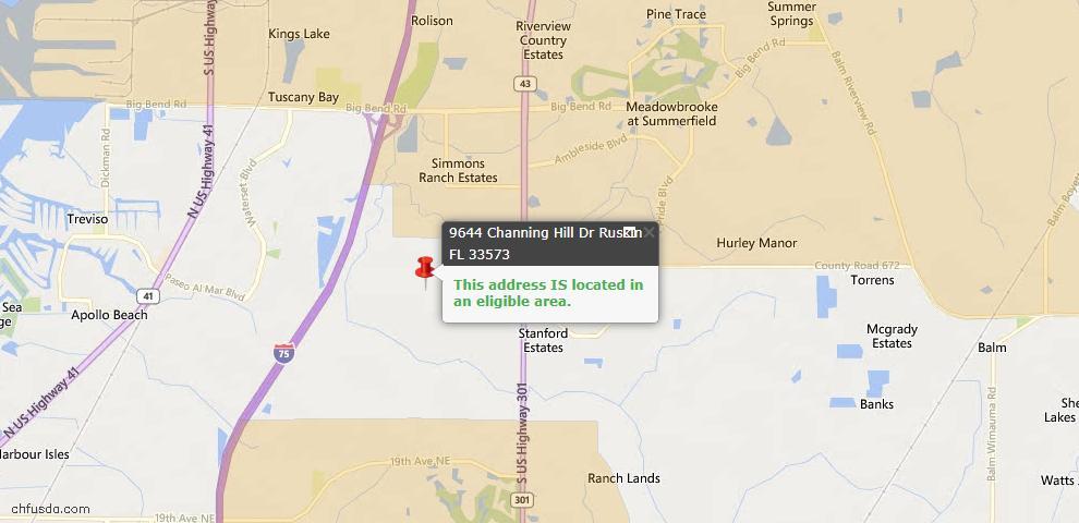 USDA Loan Eligiblity Maps From - Ruskin, FL