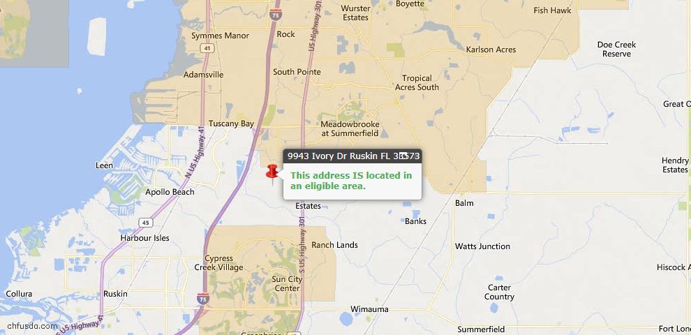 USDA Loan Eligiblity Map - 9943 Ivory Dr, Ruskin, FL 33573