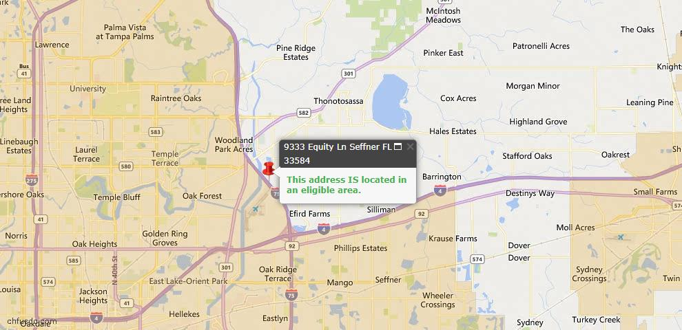 USDA Loan Eligiblity Map - 9333 Equity Ln, Seffner, FL 33584
