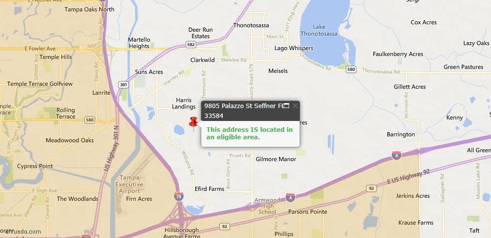 USDA Loan Eligiblity Maps From - Seffner, FL