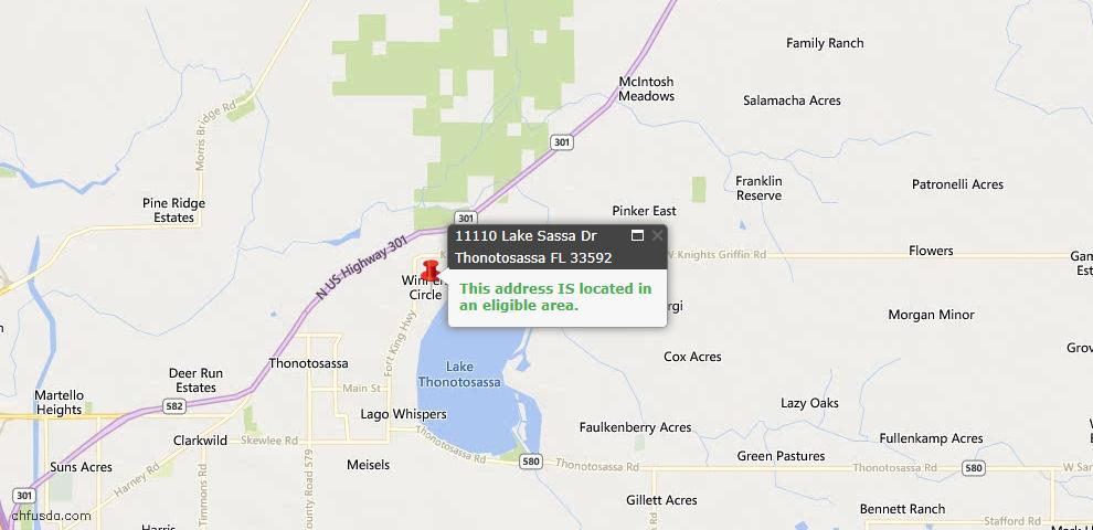 USDA Loan Eligiblity Map - 11110 Lake Sassa Dr, Thonotosassa, FL 33592