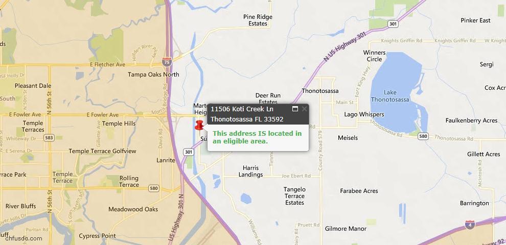 USDA Loan Eligiblity Maps From - Thonotosassa, FL