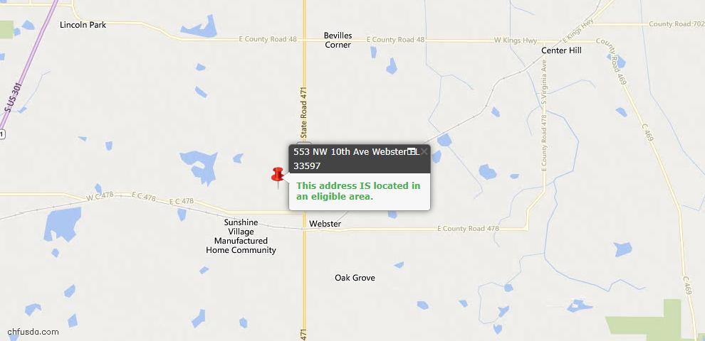 USDA Loan Eligiblity Maps From - Webster, FL