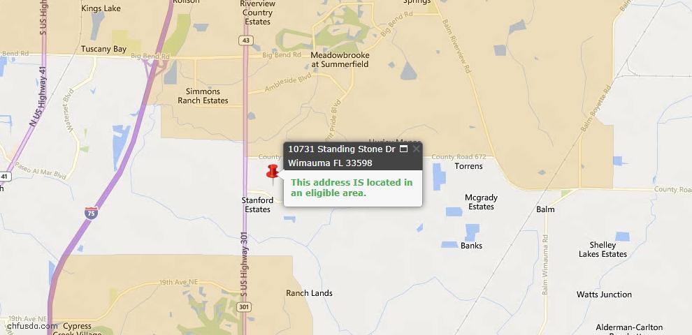 USDA Loan Eligiblity Maps From - 33598, FL