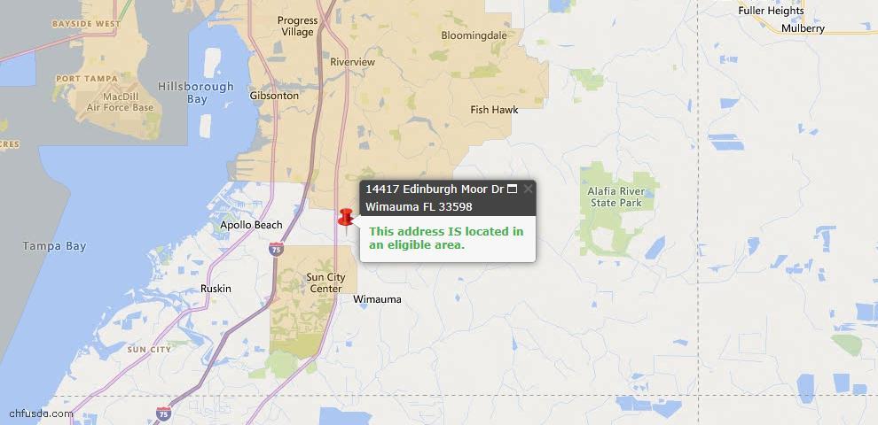 USDA Loan Eligiblity Map - 14417 Edinburgh Moor Dr, Wimauma, FL 33598