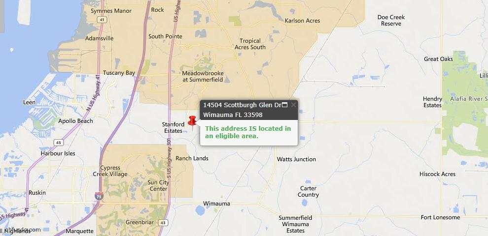 USDA Loan Eligiblity Map - 14504 Scottburgh Glen Dr, Wimauma, FL 33598
