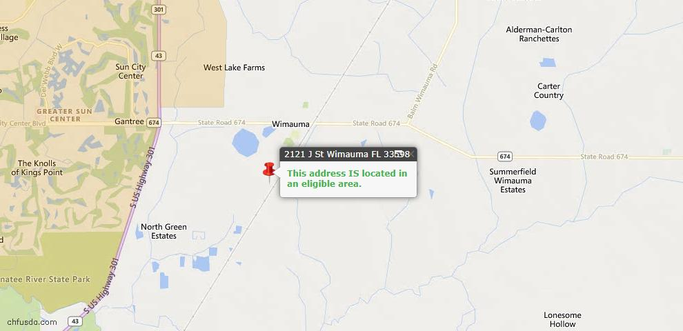 USDA Loan Eligiblity Map - 2121 J St, Wimauma, FL 33598